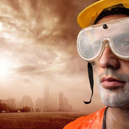 b4e53a2fb5d20 portrait of a worker and a city. Exemplos de profissionais que necessitam  da utilização dos óculos de segurança ...